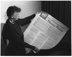 Eleonor Roosevelt with the Universal Declaration of Human Rights